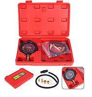 Тестер вакуумного и топливного насоса, манометр 76 мм, давление: 0-10 psi/0-0.7кг/см², вакуум: 0-28 psi/0-70cPTст, 9 предметов, Alloid