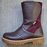 Зимние кожаные сапоги для девочек 11shoes размер 31 33 35 36