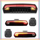 """Фонарь велосипедный аккумуляторный Meilan X5 """"STOP"""" c указанием поворотов (красный+желтый) micro USB"""