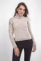 Вязаный женский свитер украшен крупным шахматным рисунком, цвета лен, фото 1