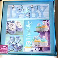 Детский магнитный фотоальбом EVG на 20 листов самоклеек  в подарочной упаковке синий