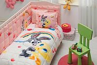 Детское постельное белье TAC Disney Looney tunes Tweety and Bugs Bunny baby + Одеяло + Бортик
