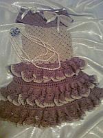 """Вязаное  нарядное платье на девочку """"Кофейный сюрприз"""""""