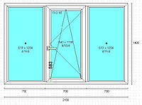 Поворотно-откидное трехчастное окно 2100*1400 VIGRAND 3 кам