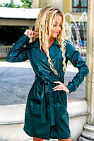 Пальто женское осеннее Кожаное бутылочное