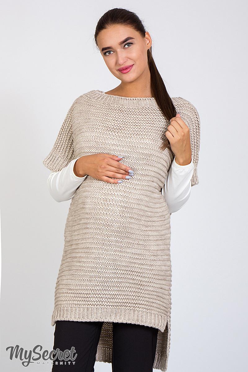 теплая вязаная туника для беременных Siena бежевый меланж цена 665