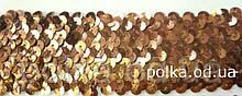 Резинка с пайетками, ширина 6см, цвет бронзовый, черный, золотой (1упаковка=9метров)
