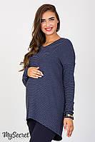 Оригинальная туника для беременных Rioni, синяя полоска на сером