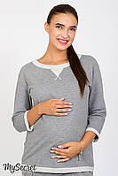 Универсальный свитшот для беременных и кормления Gigi, из трикотажа двунитка, темно-серый меланж