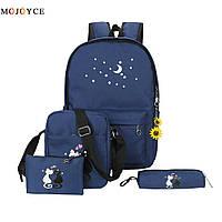 Набор с принтом Кошки 4 в 1: рюкзак, сумка, клатч, косметичка темно-синий