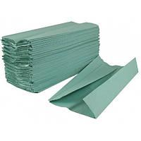 Полотенце бумажное в пачке V-складка зеленое/синее, 160 листов