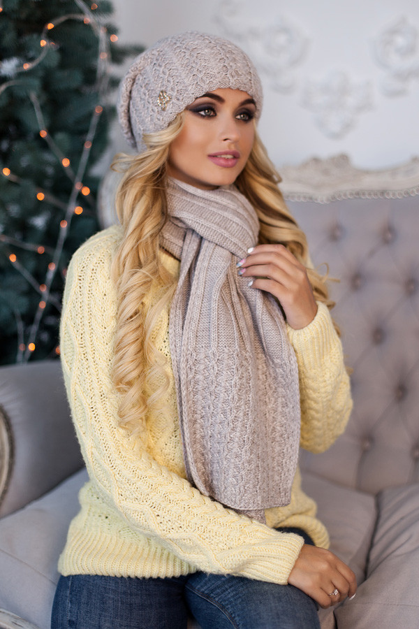 Комплект «Коссандра» (шапка + шарф) 4456-10 світлий кави