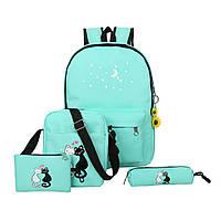 Набор с принтом Кошки 4 в 1: рюкзак, сумка, клатч, косметичка бирюзовый