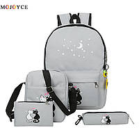 Набор с принтом Кошки 4 в 1: рюкзак, сумка, клатч, косметичка серый