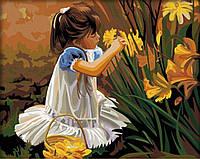 Картина по номерам Девочка, собирающая букет
