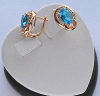 Серьги Xuping позолота 18к с овальными голубыми кристаллами