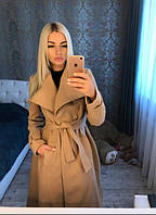 Пальто женское кашемировое на подкладке с поясом P7369, фото 1