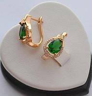Серьги Xuping позолота 18к Капля с зеленым цирконом