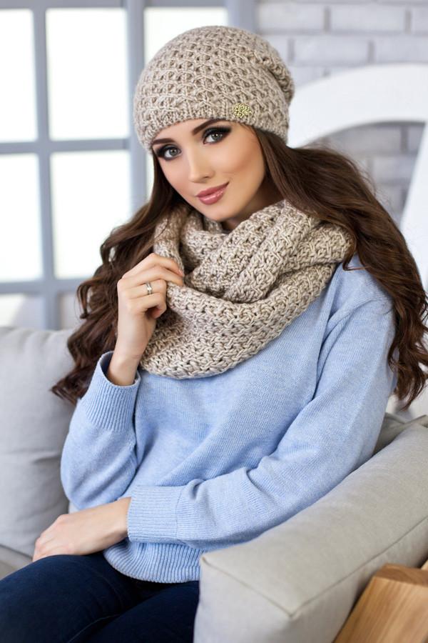 Комплект Денвер (шапка + шарф-снуд) 4337-8 светлый кофе