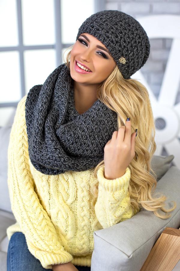 Комплект Денвер (шапка + шарф-снуд) 4337-8 темно-серый