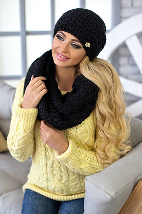 Комплект Денвер (шапка + шарф-снуд) 4337-8 чорний, фото 2