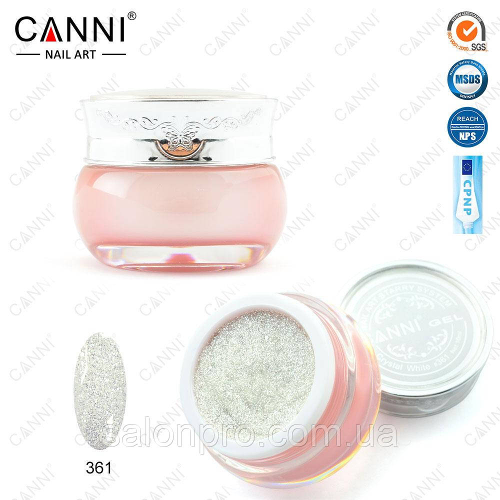 """Декоративный гель """"Звездная пыль"""" Starry gel Canni № 361 серебро, 10 мл"""