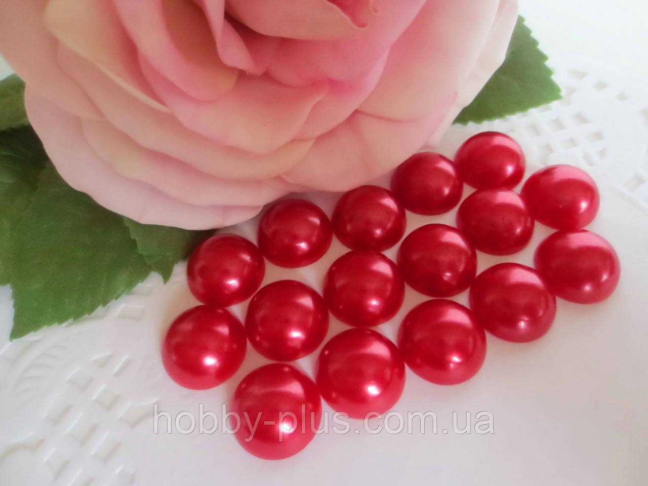 Полубусины перламутровые, 14 мм, цвет красный, 20 шт.
