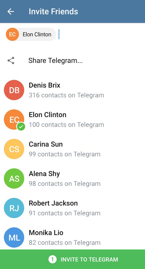 В Telegram изменили «Invite Friends»