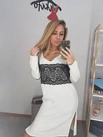 Белоснежное платье-туника из ангоры с французским кружевом