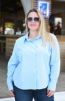 Женская рубашка с брошью. Большие размеры. Разные цвета.