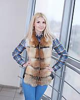 Меховая жилетка из лисы с кожаными вставками
