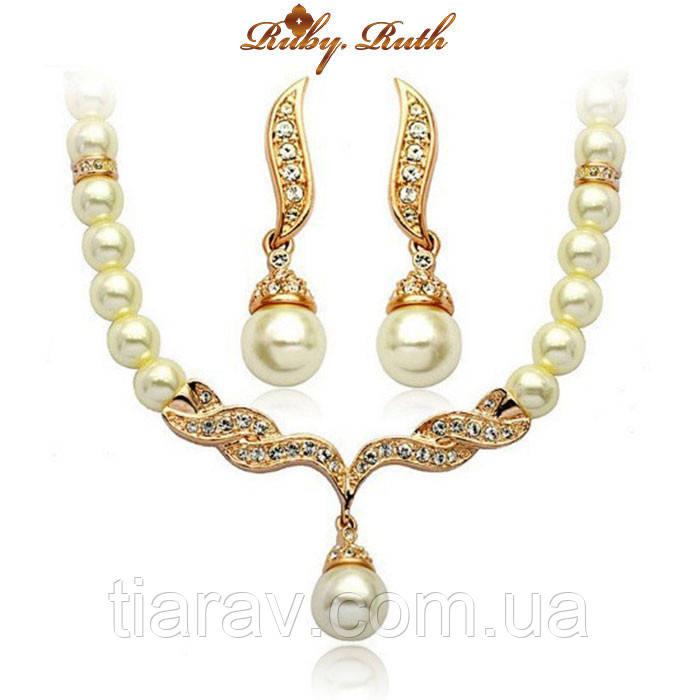 Колье и серьги набор бижутерии свадебное ожерелье