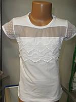 Нарядная белая блузка для девочки, размеры 5-8 лет