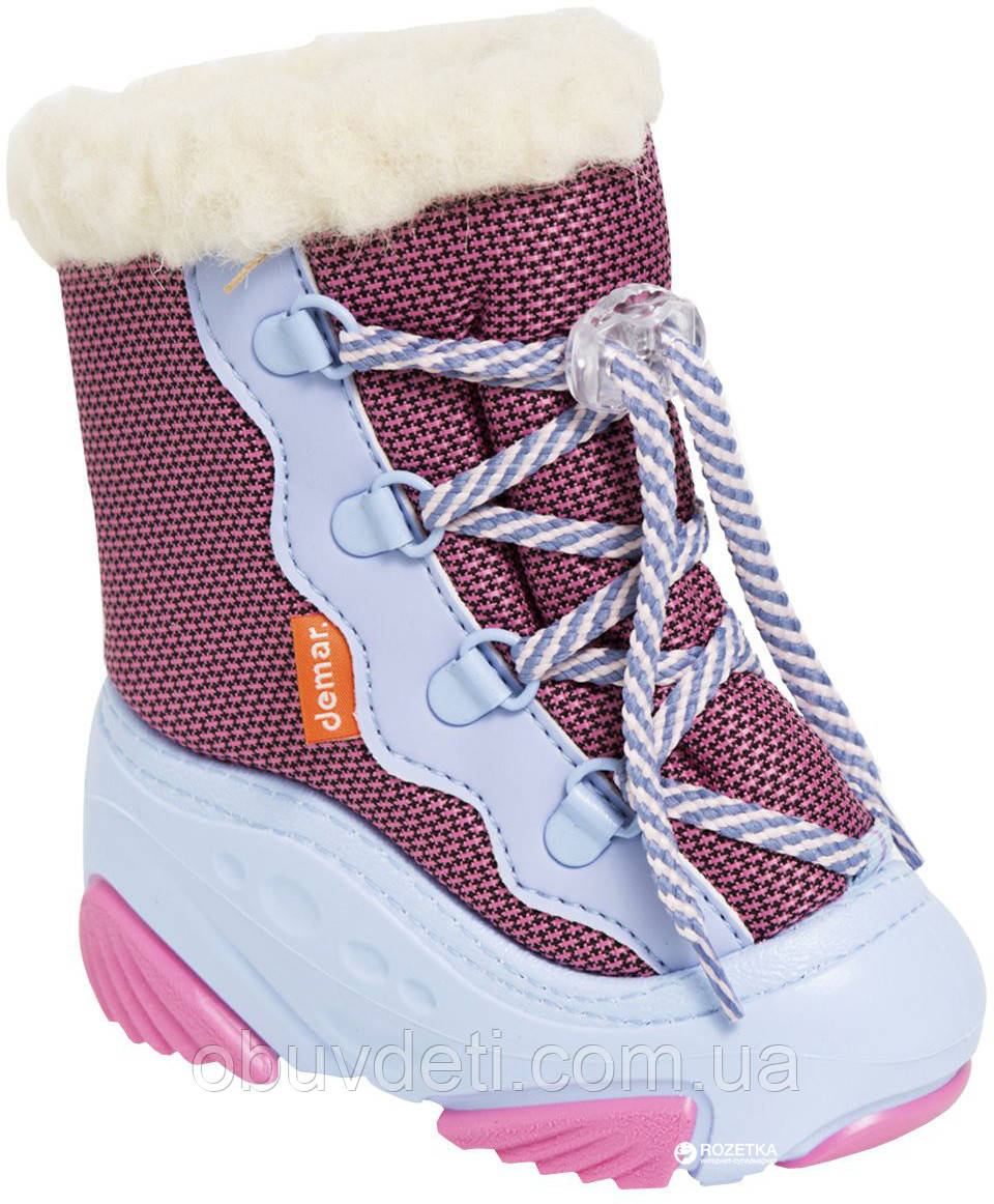 Дутики зимние для девочки теплые Demar Snow Mar A розово-голубые 26-27р - 17см