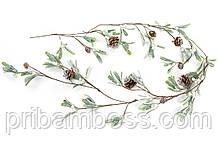 Гирлянда из листьев в инее с шишками