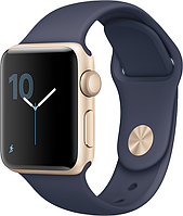 Умные часы  Apple Watch 38mm Series 2 Gold Aluminum Case with Midnight Blue Sport Band (MQ132)