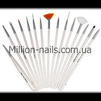 Набор кистей для росписи ногтей, 15 шт