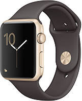 Умные часы  Apple Watch 42mm Series 1 Gold Aluminum Case with Cocoa Sport Band (MNNN2)