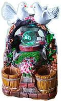 Фонтан комнатный мини Два голубка подсветка и шар и насосом домашний декоративный настольный   1611 24=15