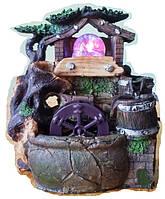 Фонтан комнатный мини Домик у мельницы подсветка и шар и насосом домашний декоративный настольный   465 24=15