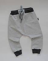 86-92 см. Демисезонные штаны гаремы серый меланж без начеса.