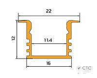 Алюминиевый профиль светодиодный  врезной  ПС1-2