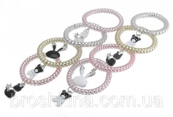 Силиконовая резиночка-спираль с украшением d 5 см 20 шт/уп