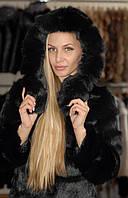 Классическая черная женская шуба из кролика