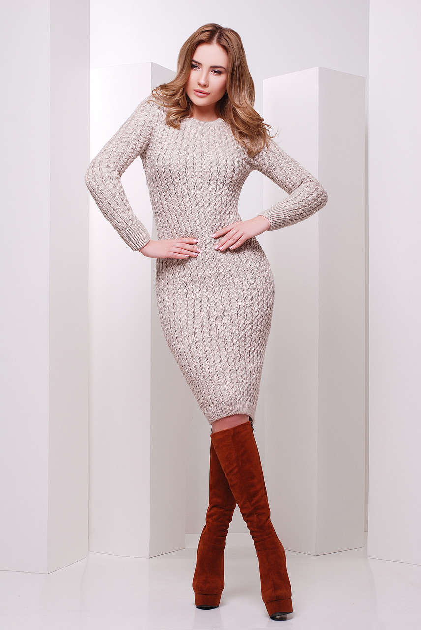 Вязаное платье Кира капучино