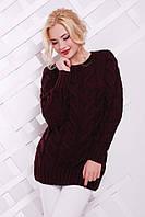 Теплый женский свитер KIKI марсала ТМ FashionUp 42-50 размеры