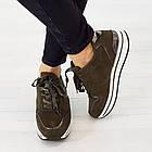 Кроссовки из замши Woman's heel 38 оливковые (О-808), фото 2