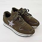 Кроссовки из замши Woman's heel 38 оливковые (О-808), фото 6