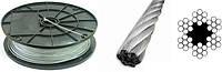 Трос 8,0 мм оцинкованный DIN 3060 6×19(1+6+12)+1 о.с.Для талей, для кабель-кранов, для стоячего такелажа.