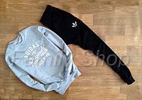 УТЕПЛЕННЫЙ Спортивный костюм Adidas Адидас серый верх черный низ (большой принт) (реплика)